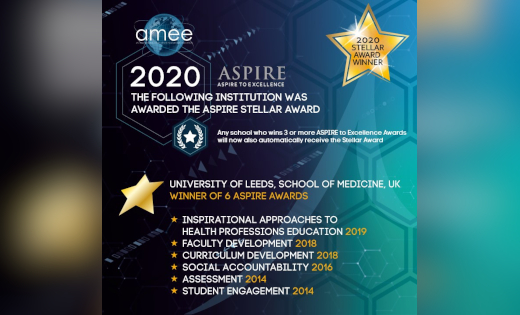 The ASPIRE Stellar Award image highlighting the School of Medicine's achievements. October 2020.