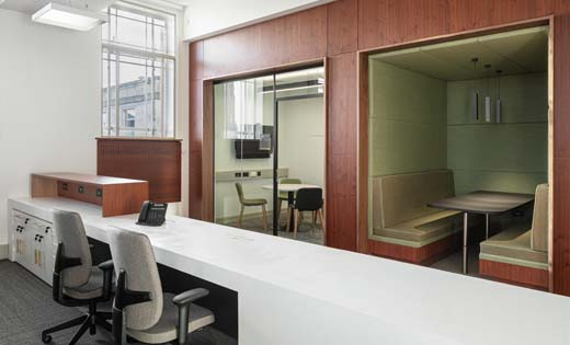 Inclusion of large glazed screens allow views into teaching spaces and offices, which creates a clearer and brighter environment, whilst also aiding wayfinding and collaboration. January 2020