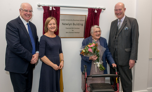 Vice-Chancellor, Sir Alan Langlands; Deputy Dean, Professor Julia Bennell; Doreen Newlyn and Executive Dean, Professor Peter Moizer, at the official opening ceremony. October 2019