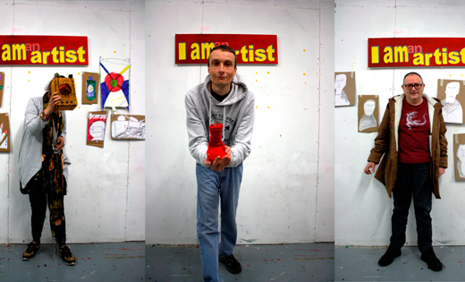 Three pictures with three different people standing on the same background that says 'I am an artist'