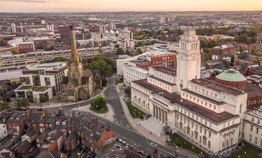 An aerial photograph of campus taken from above the Parkinson building