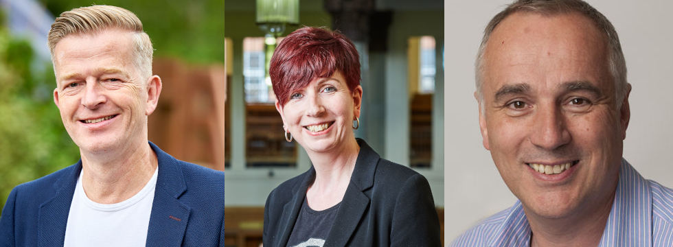 Profile pictures of the Deans of Student Education - Professors Paul Taylor, Alice O'Grady and Kenny McDowall.
