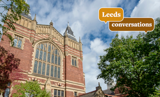 The Great Hall with the Leeds Conversations logo in yellow. Feb 2021.