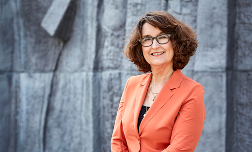 University of Leeds Vice-Chancellor Simone Buitendijk poses in front of one of the buildings on campus. August 2020.