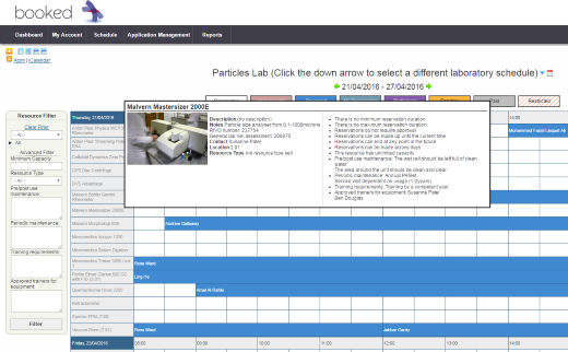 Screenshot of the booking interface.
