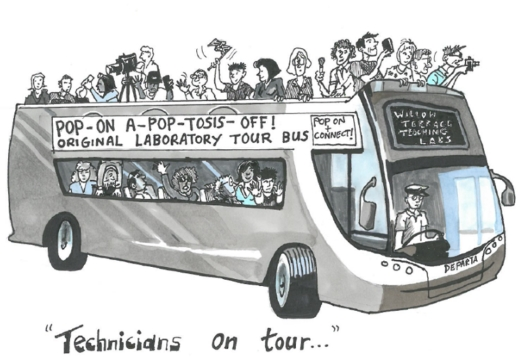 Drawing of a Technician tour bus.